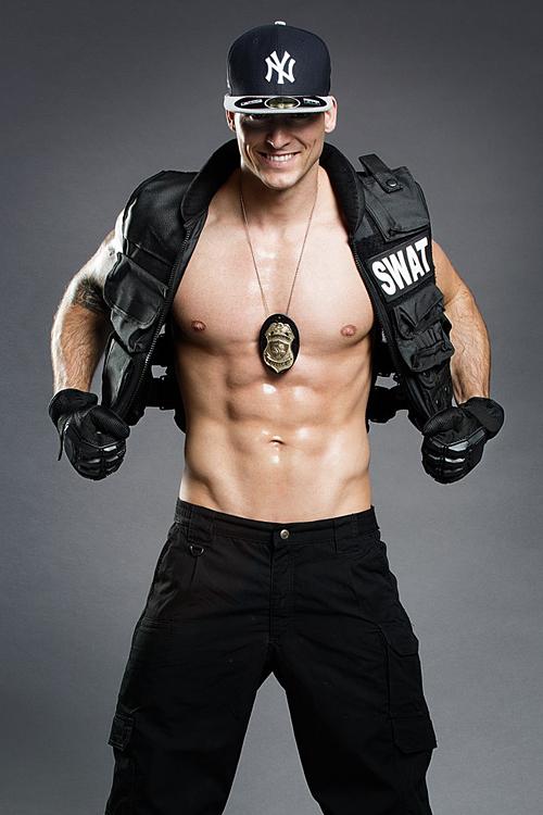 Male police officer stripper